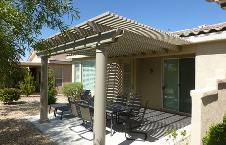 Pergola Patio Cover Metal Beige Finish Landscaping